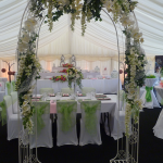 Decorated Wedding arch for your Marquee wedding