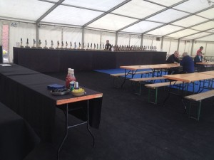 Set up for Liverpool Cricket Club Beer Festival
